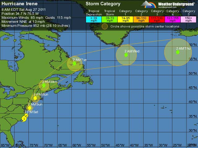 Five day tracking for Irene